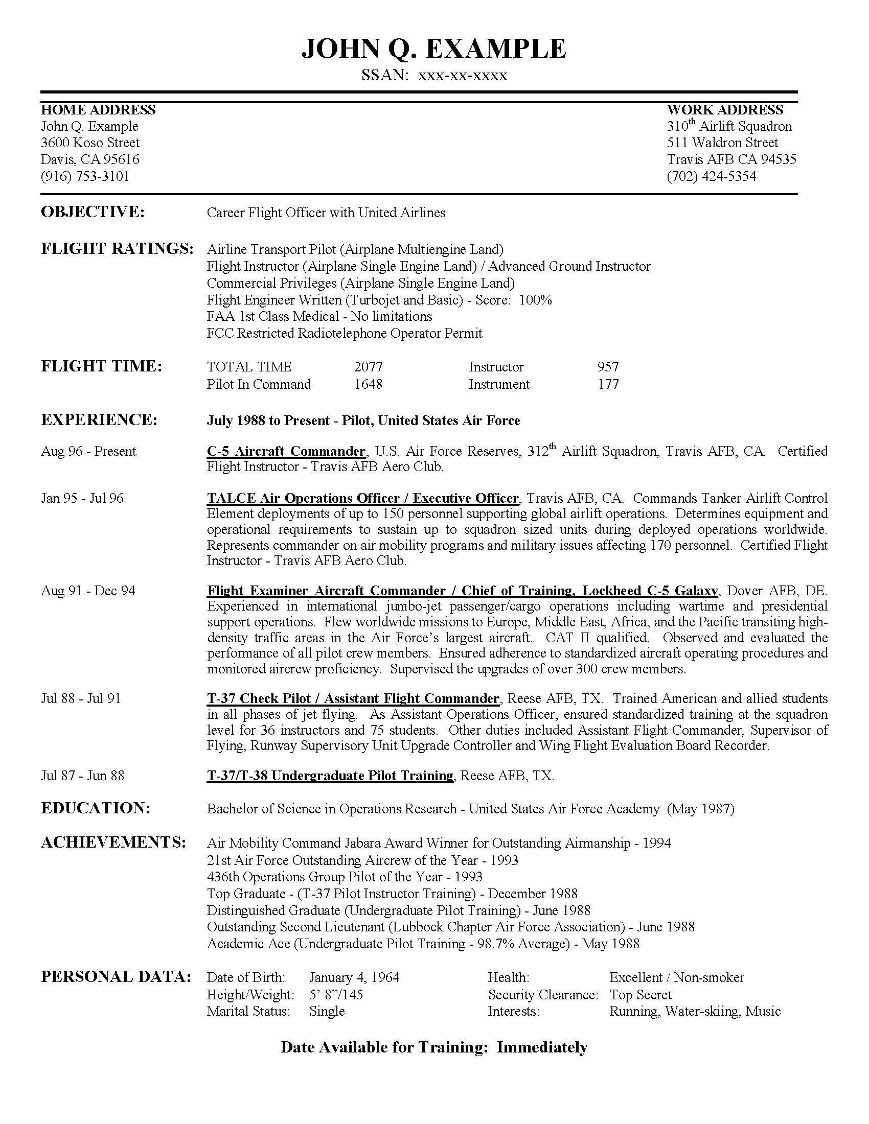 Airline Pilot Hiring - Example Resume